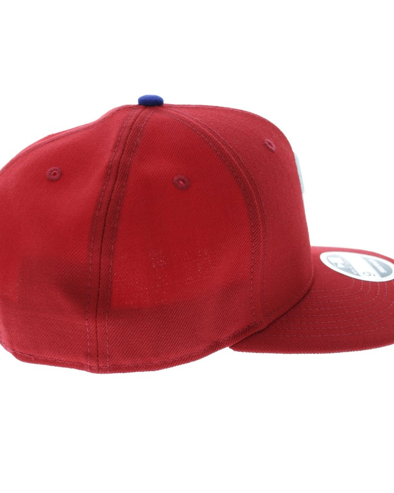 New Era Phillies 9FIFTY Precurve Original Fit Snapback Scarlet