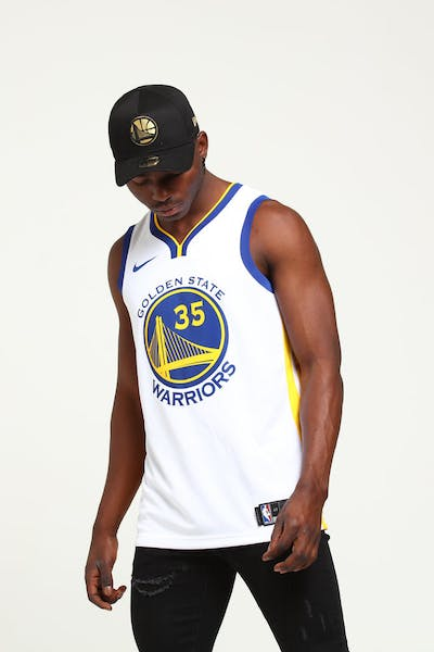 Kevin Durant #35 Golden State Warriors Nike Association Edition Swingman Jersey White/Blue/Yellow