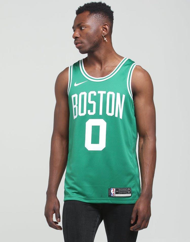 save off b72bc 35c7d Nike Boston Celtics Jason Tatum #0 Icon Edition NBA Swingman Clover
