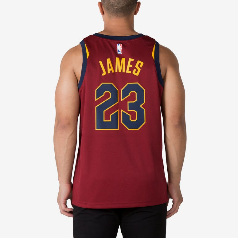 LeBron James  23 Cleveland Cavaliers Nike Icon Edition Swingman Jersey Red  Gold 2ff07eb27