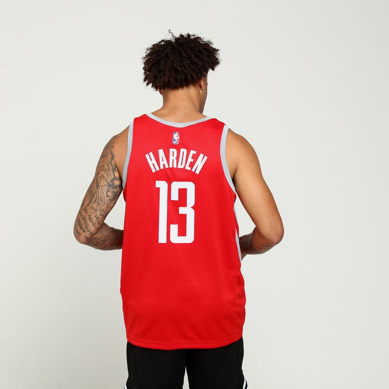 James Harden  13 Houston Rockets Nike Icon Edition Swingman Jersey  Red Silver 59d9617fc