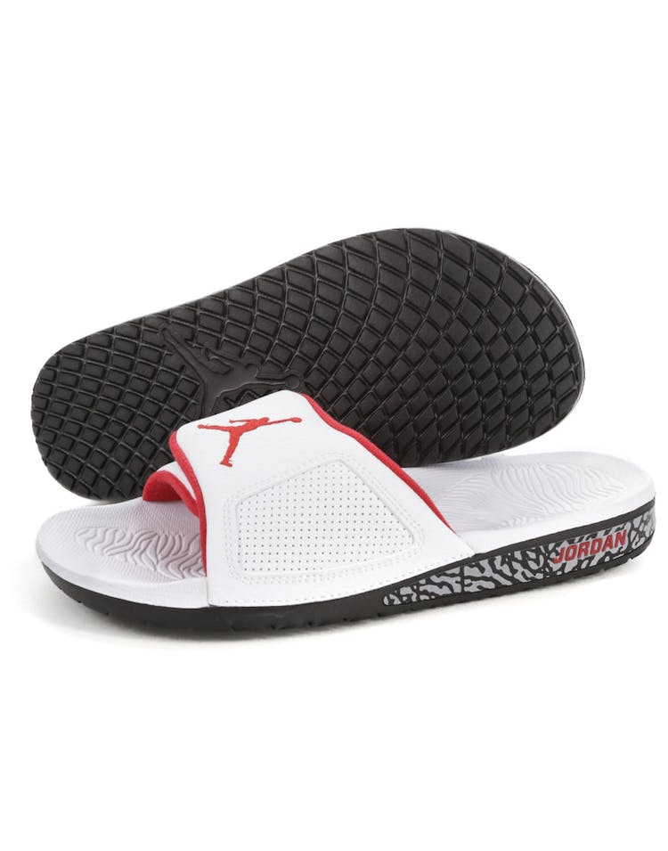 ae600219c637 Jordan Hydro III Retro Slide White Red Black