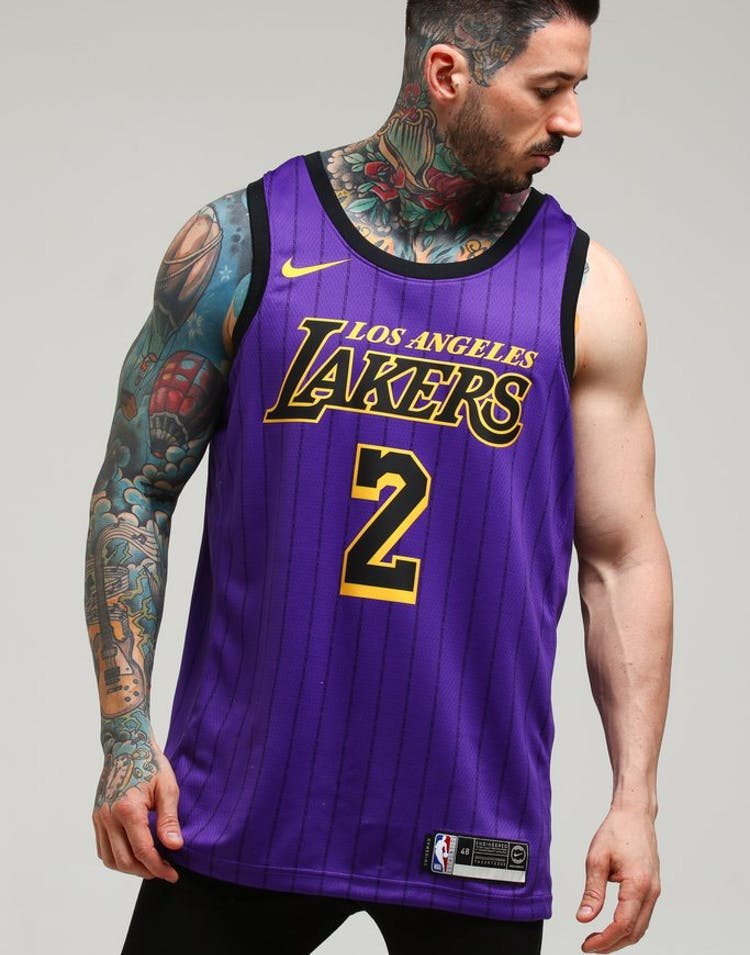 67f6d765f Nike Los Angeles Lakers Lonzo Ball  2 City Edition Swingman NBA Jersey –  Culture Kings
