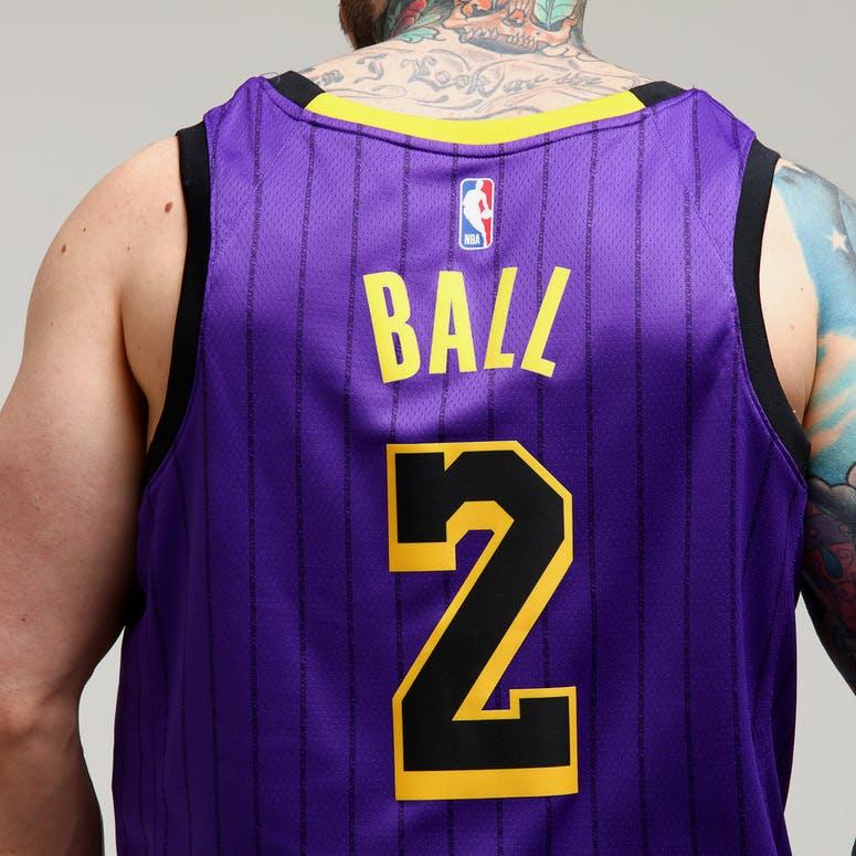 Nike Los Angeles Lakers Lonzo Ball  2 City Edition Swingman NBA Jersey  18  Purple 7bc6c3f4d