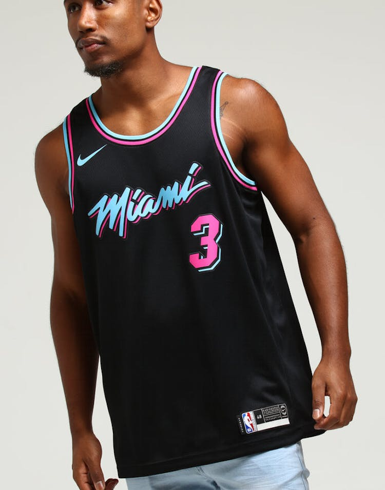 72a755f7315 Nike Miami Heat Dwayne Wade #3 City Edition Swingman NBA Jersey Black –  Culture Kings