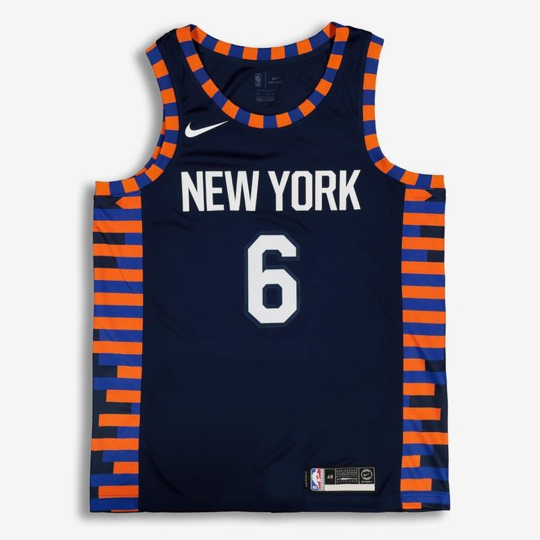 Nike New York Knicks Kristaps Porziņģis  6 City Edition Swingman NBA Jersey  Navy 36441ecef