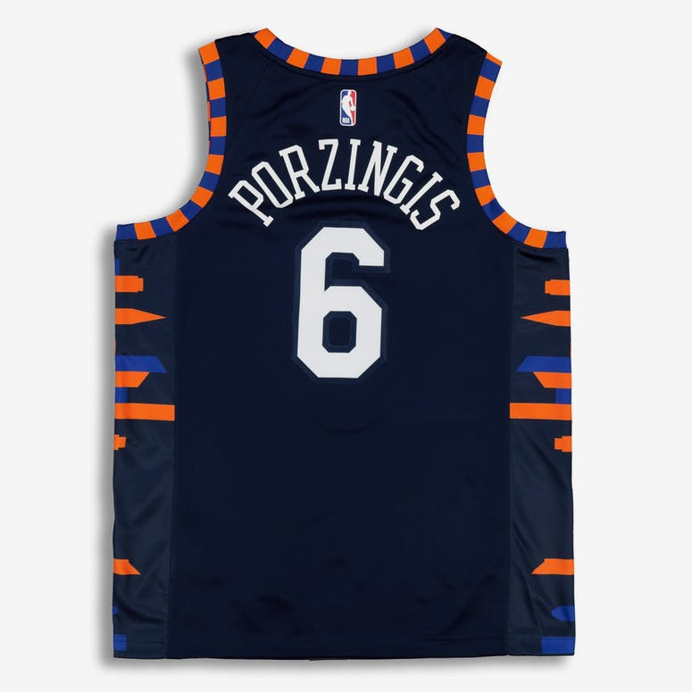 Nike New York Knicks Kristaps Porziņģis  6 City Edition Swingman NBA Jersey  Navy fd1ea6d29