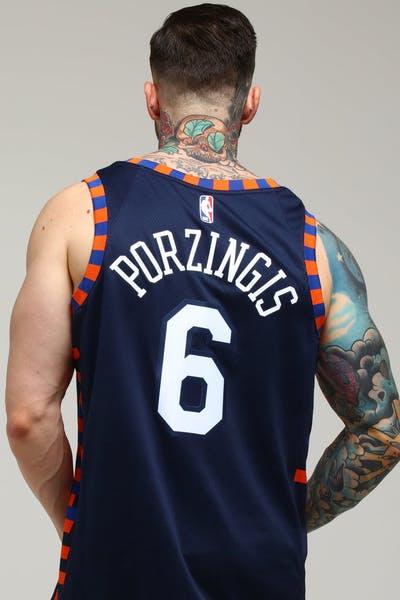 bc47bd12fc0 Nike New York Knicks Kristaps Porziņģis #6 City Edition Swingman NBA Jersey  Navy