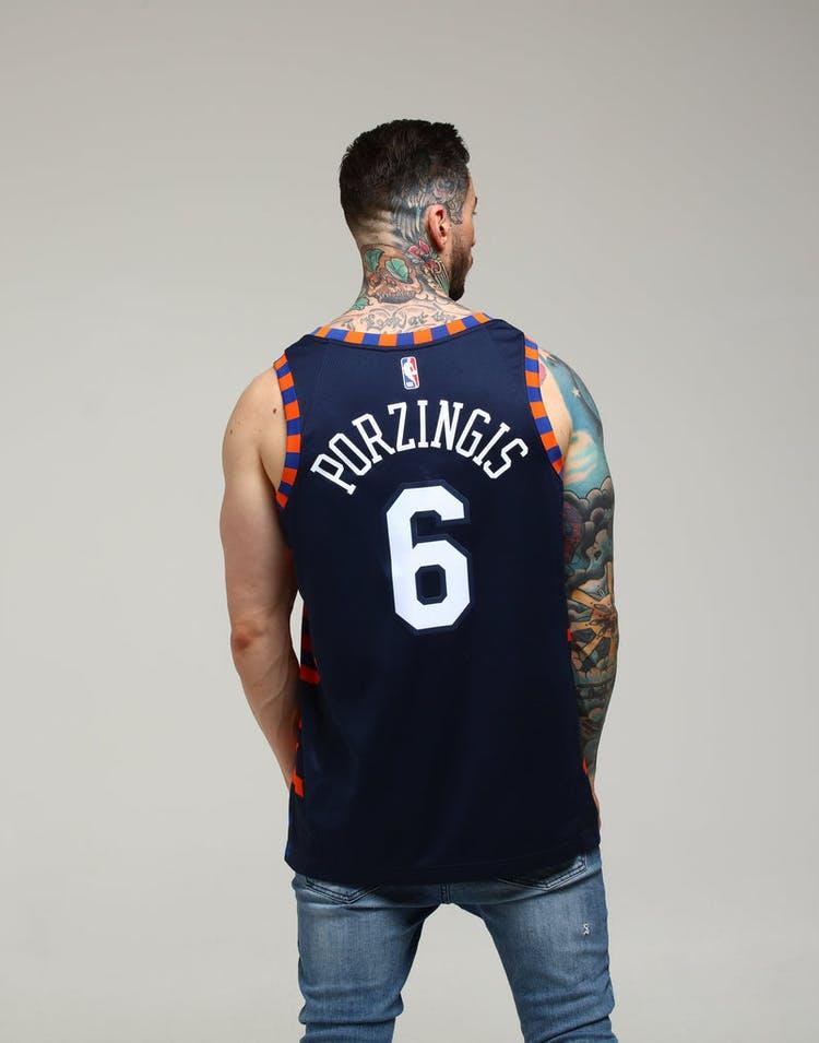 6dfd80b8 Nike New York Knicks Kristaps Porziņģis #6 City Edition Swingman NBA Jersey  Navy