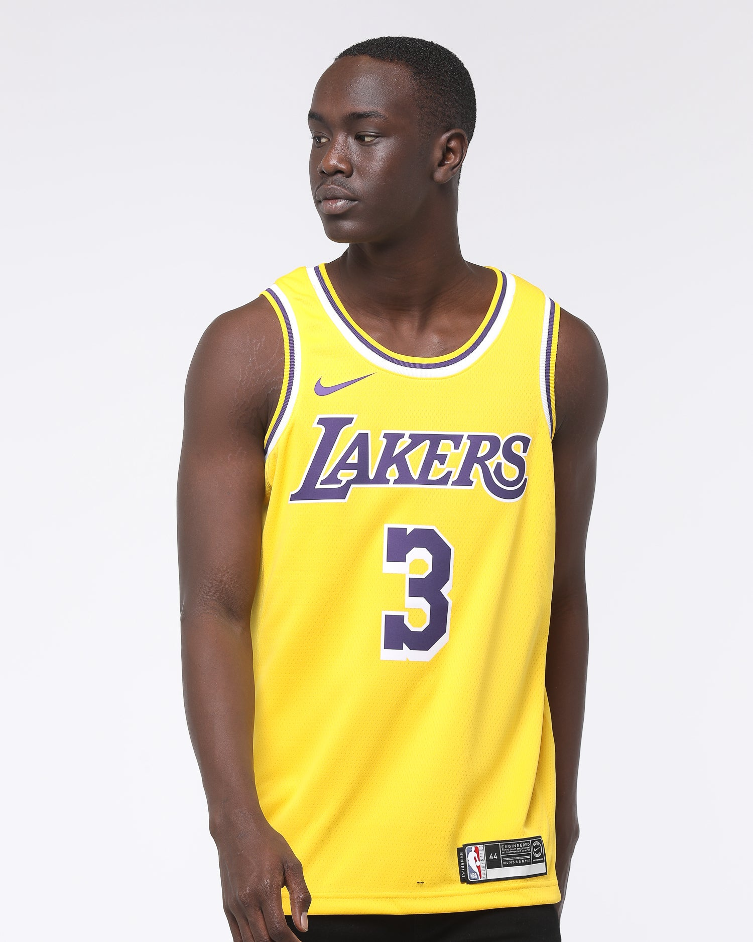 Nike Los Angeles Lakers Anthony Davis #3 Icon Edition Swingman Jersey AmarilloPurple