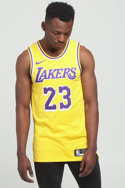 Nike Los Angeles Lakers LeBron James #23 Icon Edition Swingman Jersey Amarillo