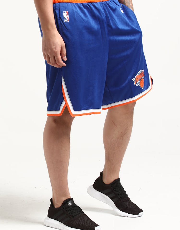 6c01aa194 Nike New York Knicks Swingman Short Road Blue Orange White – Culture Kings
