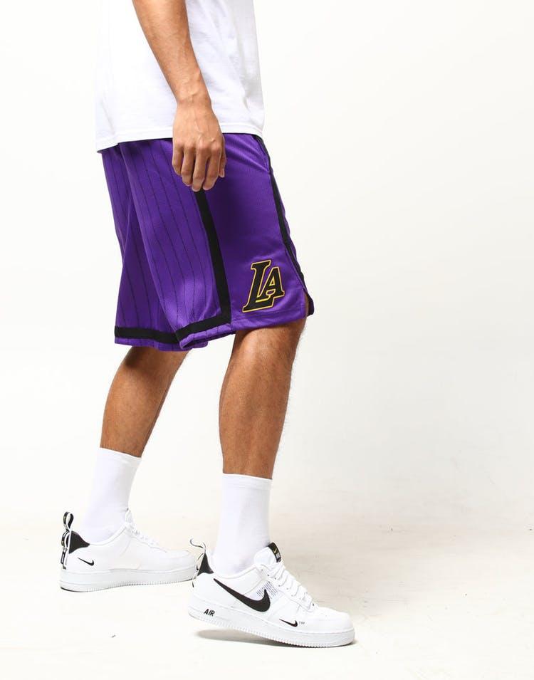 5e7137a1ea0 Nike Los Angeles Lakers City Edition Swingman NBA Short  18 Purple Yellow