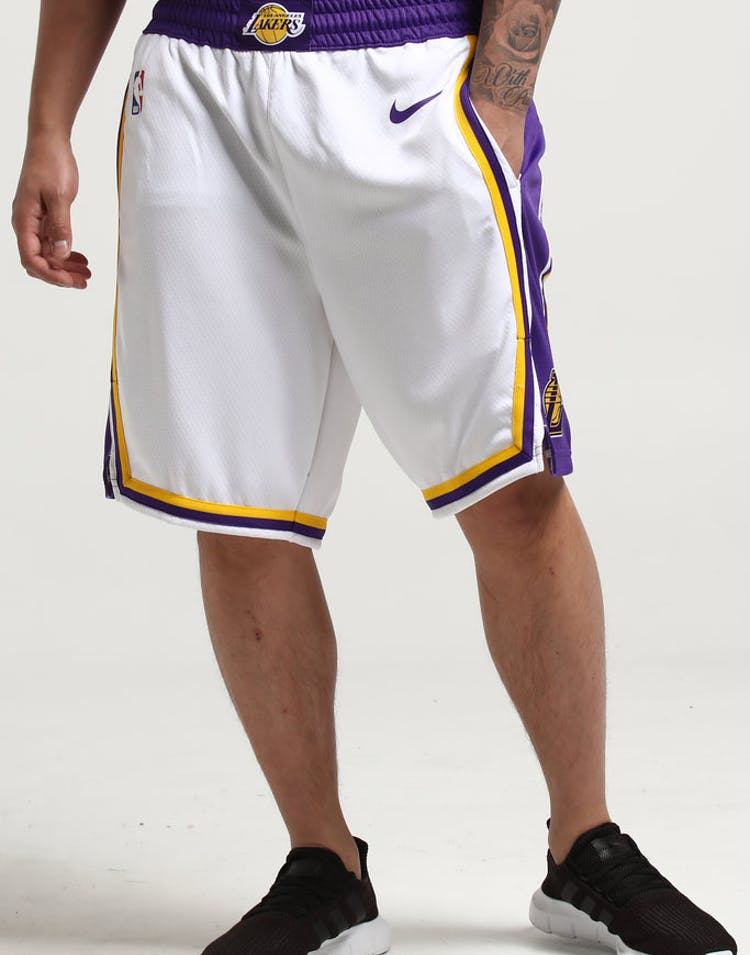 08a66fa3d Nike Los Angeles Lakers Swingman Shorts Home White Purple – Culture Kings