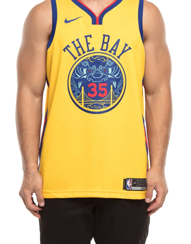 wholesale dealer 9d857 967e9 Nike Golden State Warriors #35 Kevin Durant City Edition Swingman Jersey  Yellow