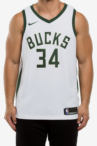 Giannis Antetokounmpo #34 Milwaukee Bucks Nike Association Edition Swingman Jersey White/Green