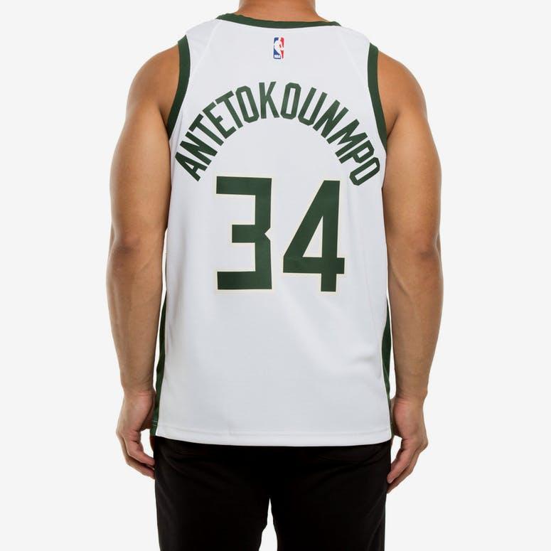 f3edc47fe Giannis Antetokounmpo  34 Milwaukee Bucks Nike Association Edition Swingman Jersey  White Green