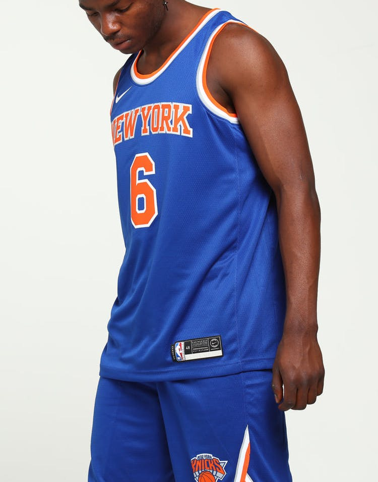 size 40 87c47 4a9d7 Kristaps Porziņģis #6 New York Knicks Nike Icon Edition Swingman Jersey Blue