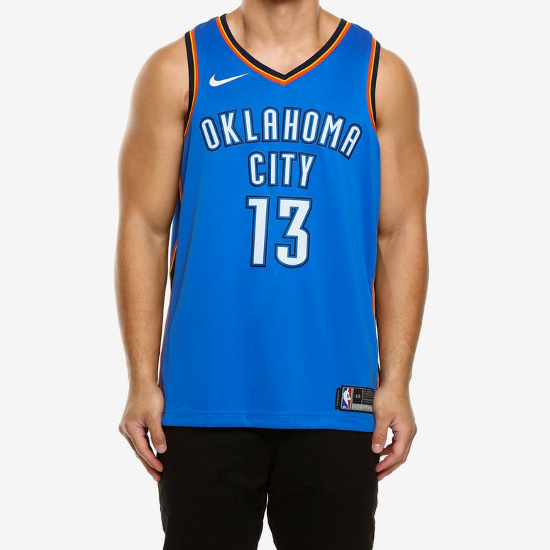 6ec4f33b8d15 Paul George  13 Oklahoma City Thunder Nike Icon Edition Swingman Jersey  Blue Navy