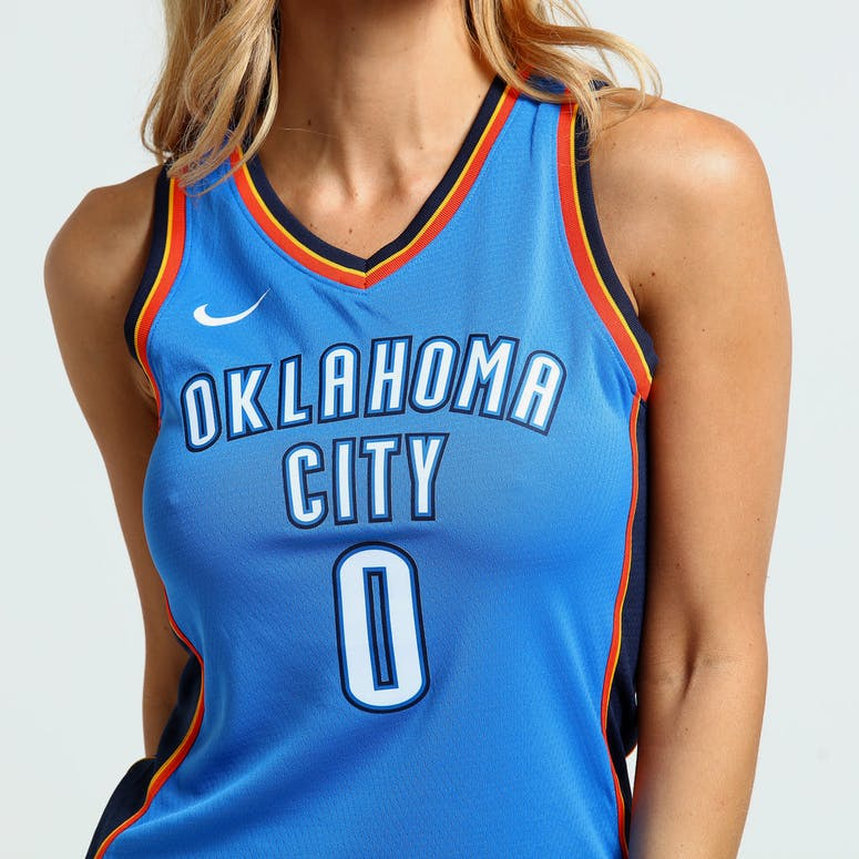 Nike Women s Oklahoma City Thunder Russell Westbrook  0 Icon Edition NBA  Jersey Blue Navy f3ae708ac