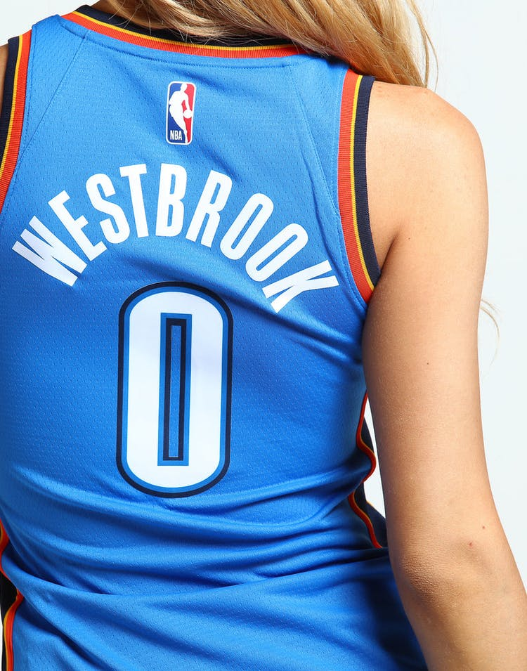 best loved 9b0bc 513e5 Nike Women's Oklahoma City Thunder Russell Westbrook #0 Icon Edition NBA  Jersey Blue/Navy