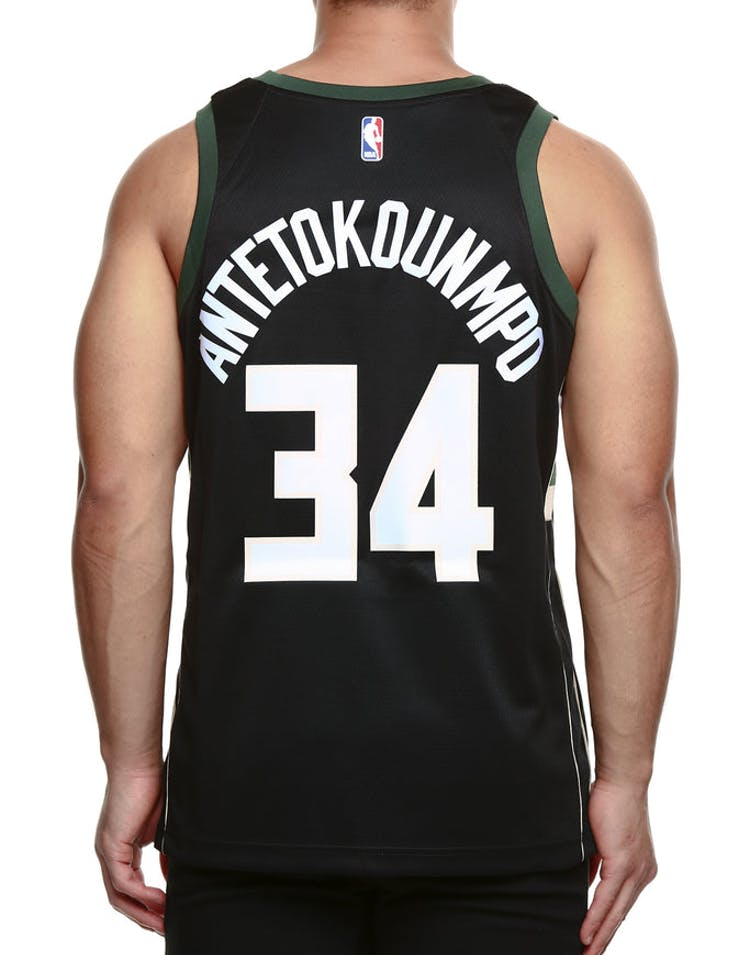 f20100c4fdd Nike Milwaukee Bucks  34 Giannis Antetokounmpo Alternate Swingman Jersey  Black Green Cream