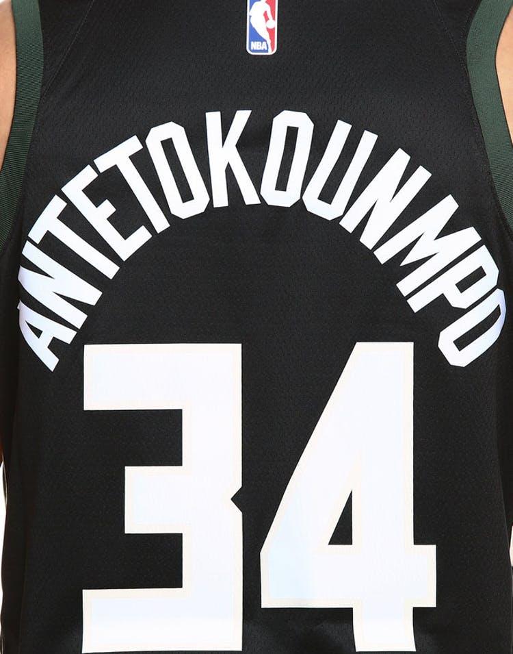 03da487b97c Nike Milwaukee Bucks #34 Giannis Antetokounmpo Alternate Swingman Jersey  Black/Green/Cream