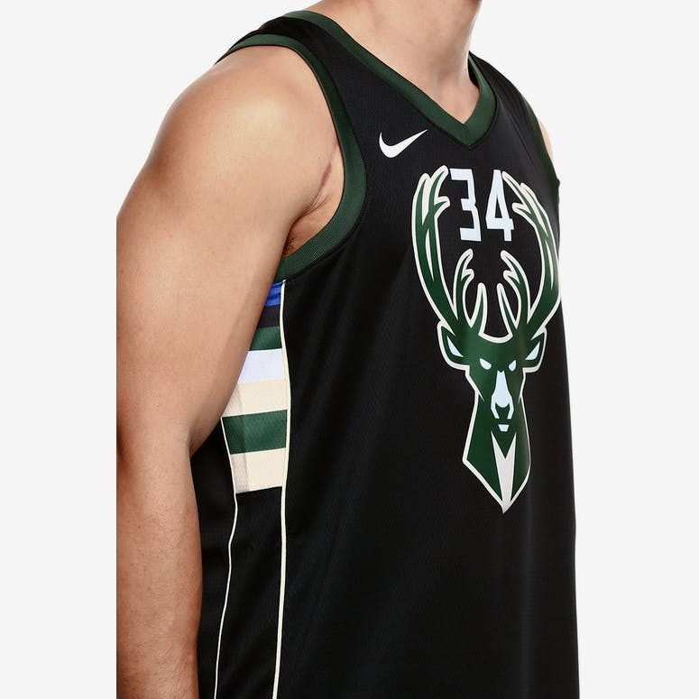 Nike Milwaukee Bucks  34 Giannis Antetokounmpo Alternate Swingman Jersey  Black Green Cream 3505da0b7