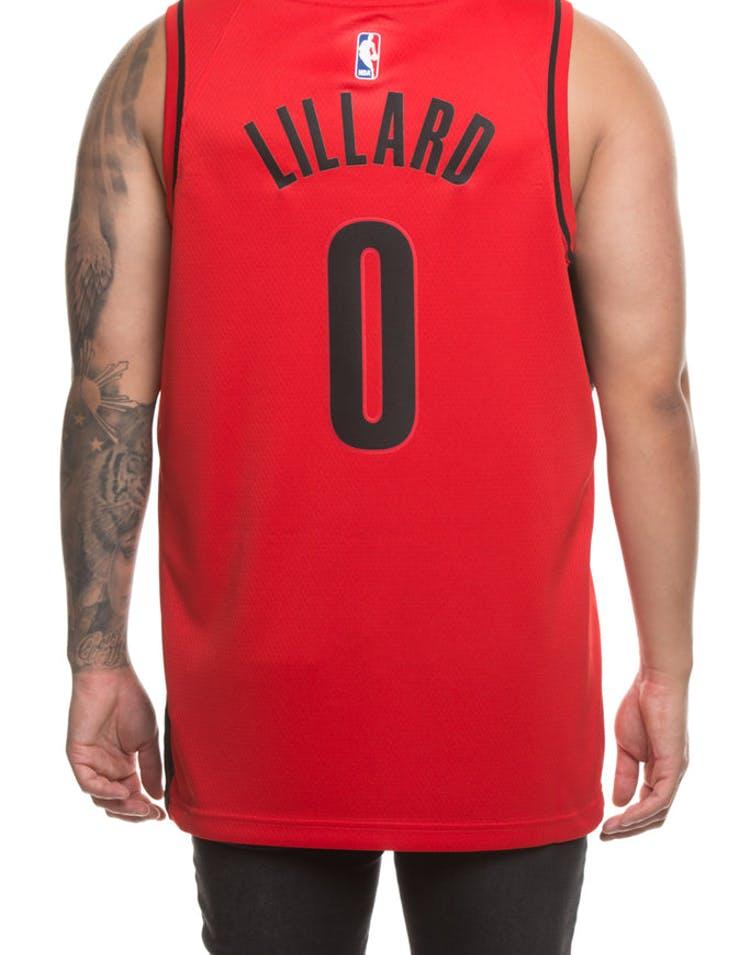 first rate d75aa aee4b Nike Portland Trailblazers #0 Damian Lillard Alternate Swingman Jersey  Red/Black