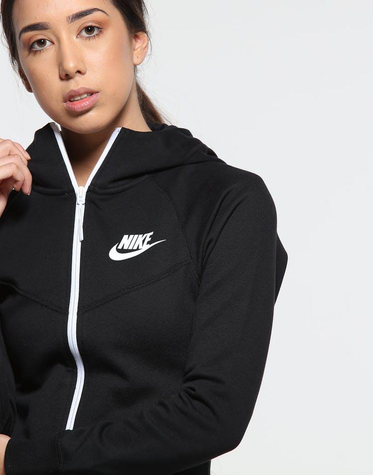 21550d28154c Nike Women s Sportswear Tech Fleece Windrunner Full-Zip Hoodie Black White