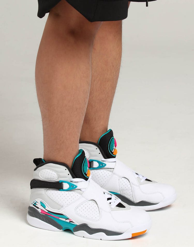 8f2e27b049be35 Air Jordan 8 Retro White Turq Grey – Culture Kings