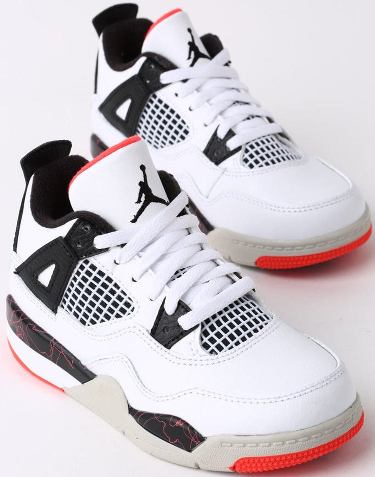 ff5a498a156f28 Jordan Air Jordan 4 Retro (PS) White Black Crimson – Culture Kings
