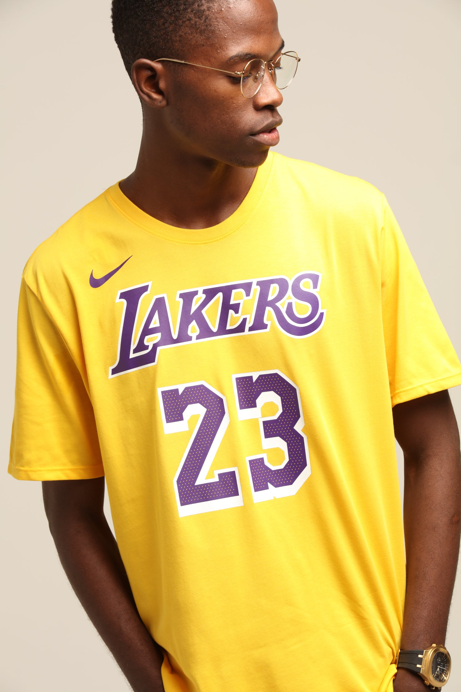 Nike Los Angeles Lakers Lebron James #23 Dri Fit Tee Amarillo