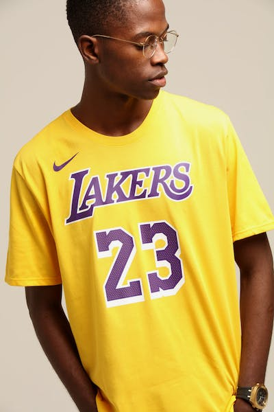 Nike Los Angeles Lakers Lebron James #23 Dri Fit Tee Amarillo