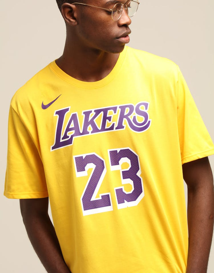 new cheap reliable quality fresh styles Nike Los Angeles Lakers Lebron James #23 Dri Fit Tee Amarillo