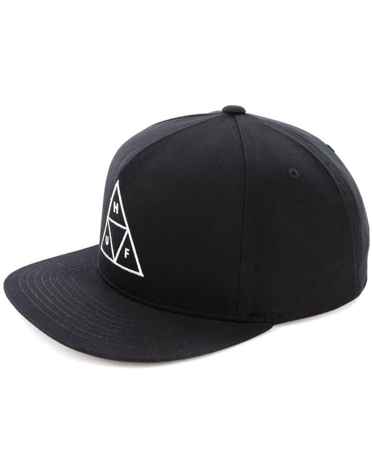 ba0bff4bd Huf Essentials Triple Triangle Snapback Hat Black