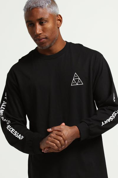 HUF Triple Triangle LS Tee Black