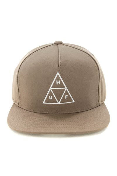 Huf Essentials Triple Triangle Snapback Hat Tobacco