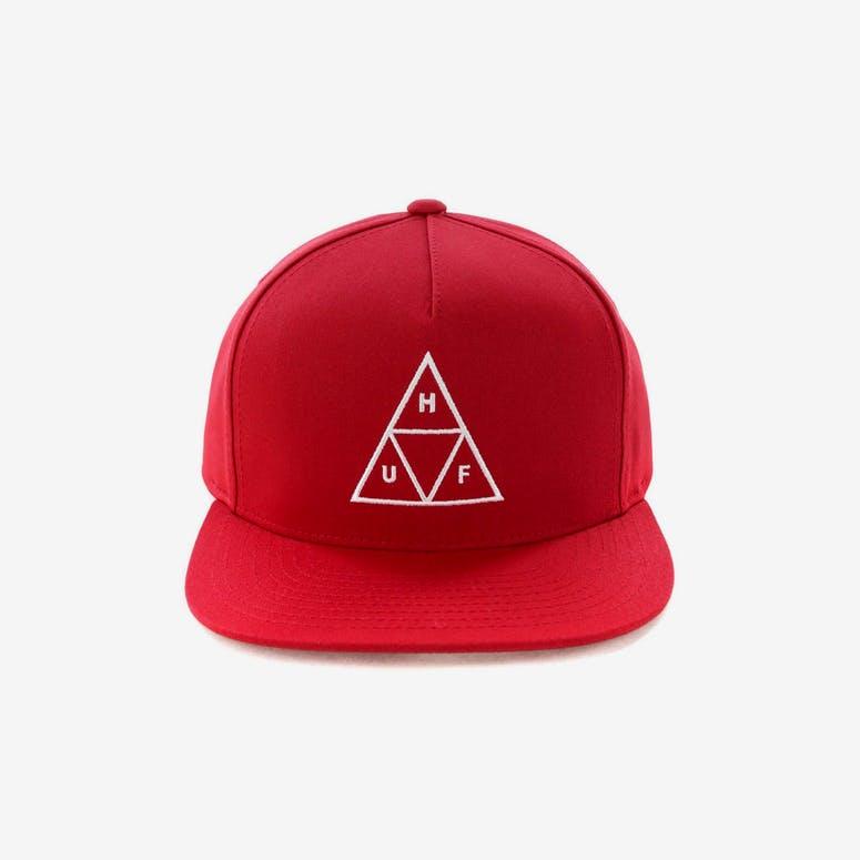 f2aa17932a1 Huf Essentials Triple Triangle Snapback Hat Scarlet – Culture Kings