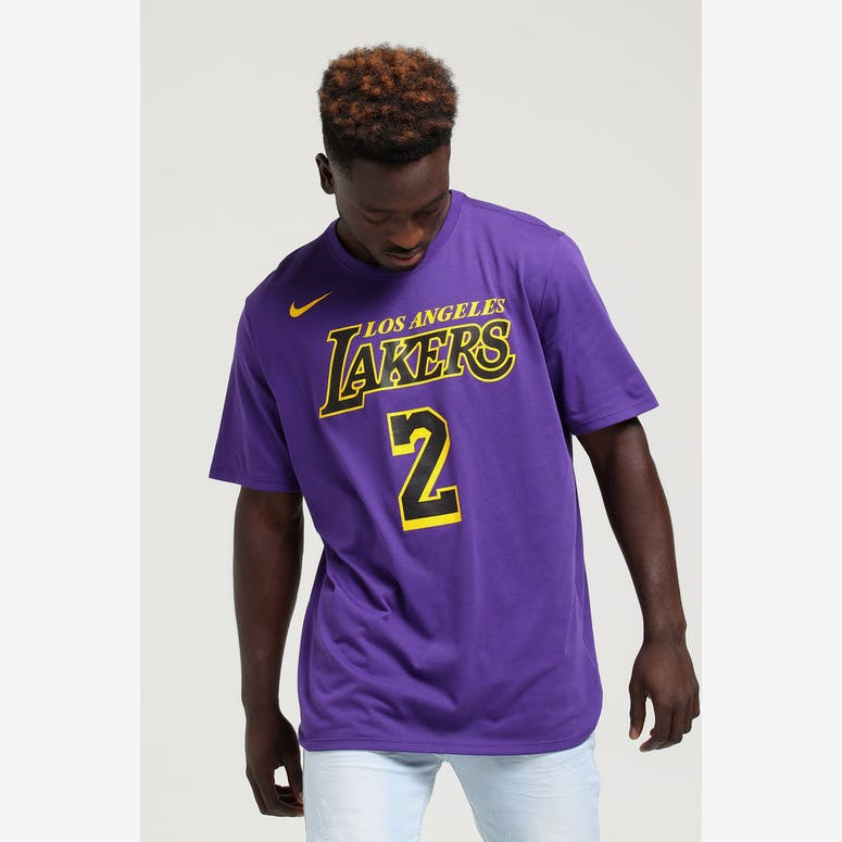 Nike Los Angeles Lakers Lonzo Ball  2 City Edition Dri-Fit Tee Purple –  Culture Kings d4d4df41b