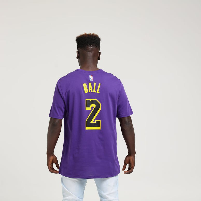 Nike Los Angeles Lakers Lonzo Ball  2 City Edition Dri-Fit Tee Purple 82976a209