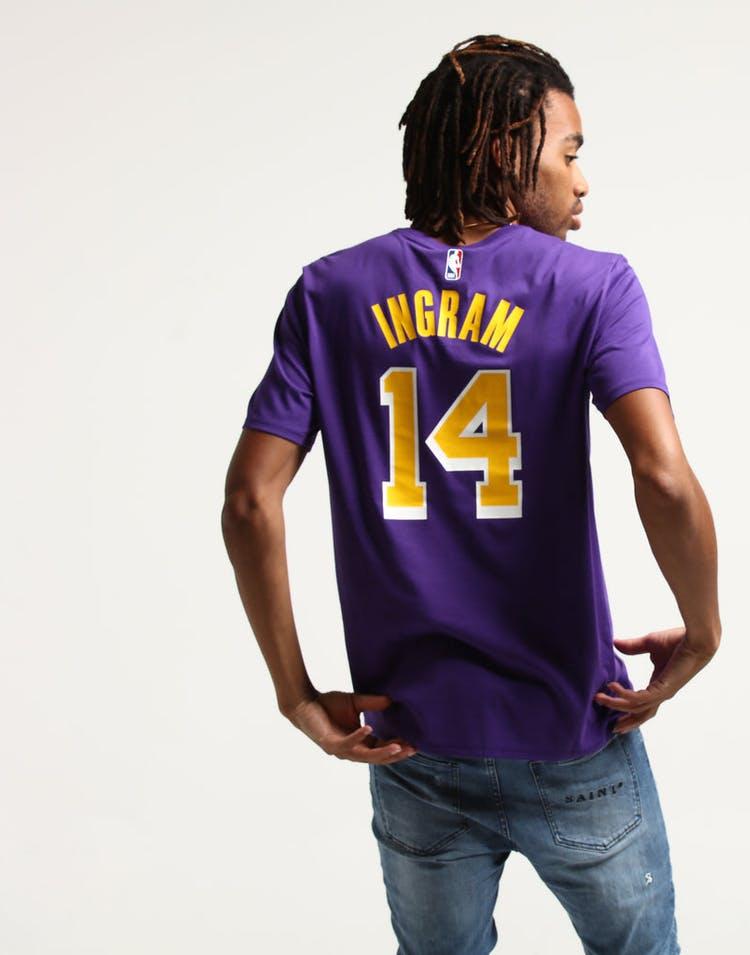 16fad40a76c Nike Los Angeles Lakers Brandon Ingram #14 NBA Dri-Fit Tee Purple ...