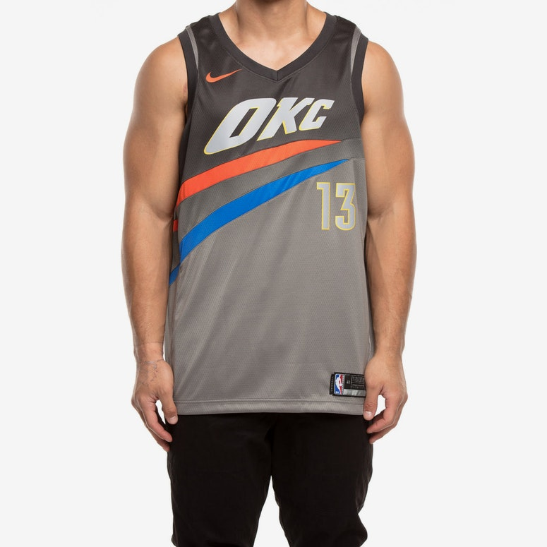 cheaper 2f92e 9a77d Nike Oklahoma City Thunder #13 Paul George City Edition Swingman Jersey  Dark Grey