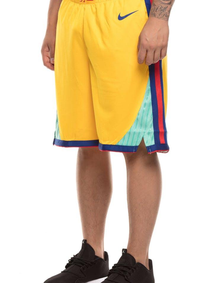 c1e8f014aff Golden State Warriors Nike NBA City Edition Swingman Shorts Yellow Blu –  Culture Kings