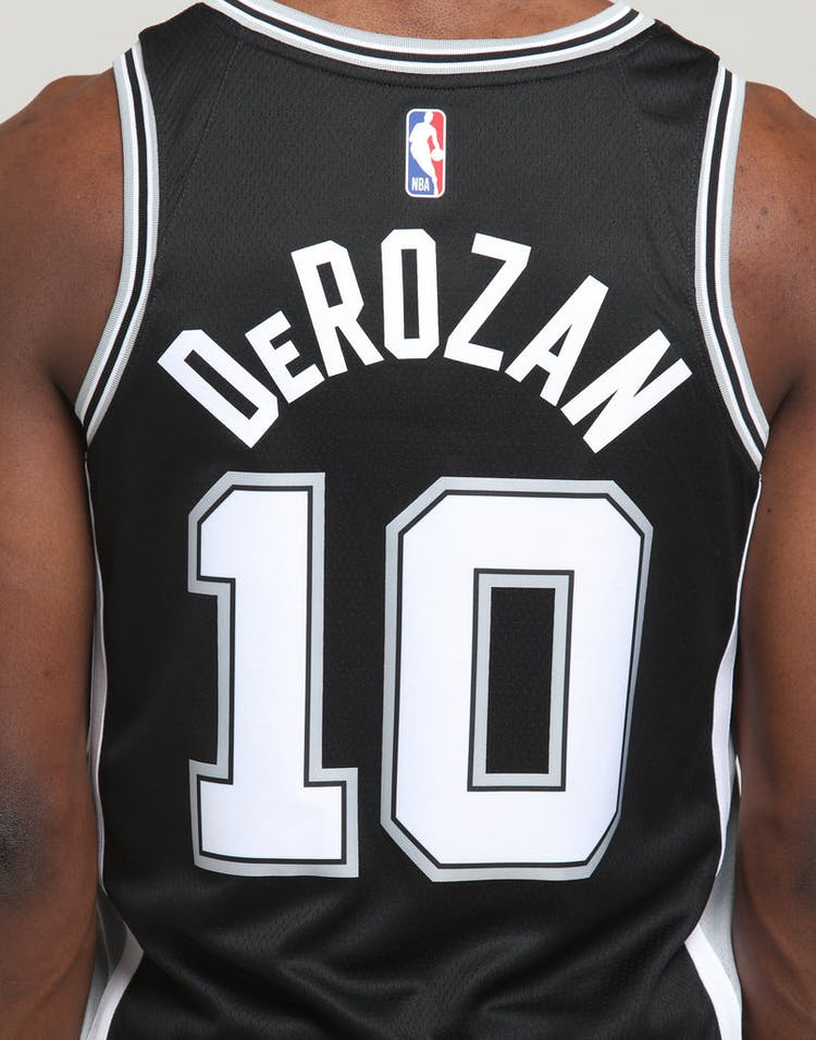 best cheap 5f1df ed0a7 Nike San Antonio Spurs DeMar DeRozan #10 Icon Edition NBA Swingman  Black/Flat Silver