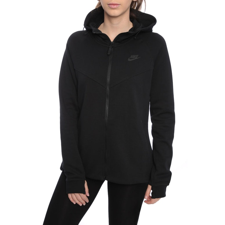 nike women 39 s tech fleece hoodie black black culture kings. Black Bedroom Furniture Sets. Home Design Ideas