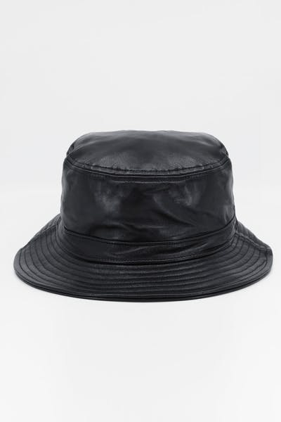 Brixton Mathews Bucket Hat Black Leather