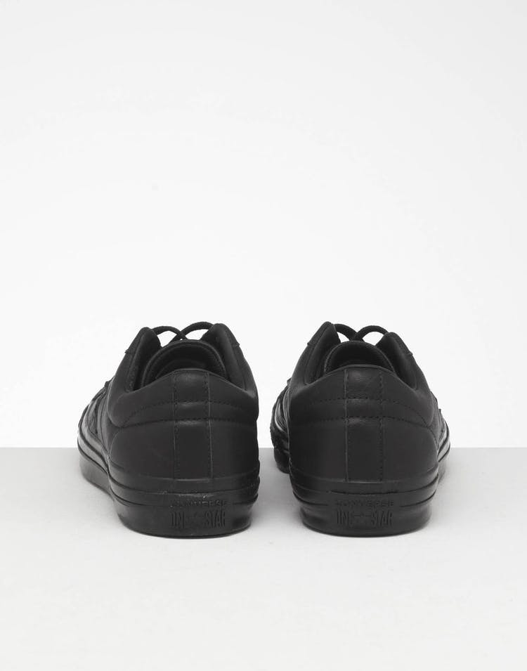 CONVERSE ONE STAR LEATHER LOW TOP BLACK/BLACK