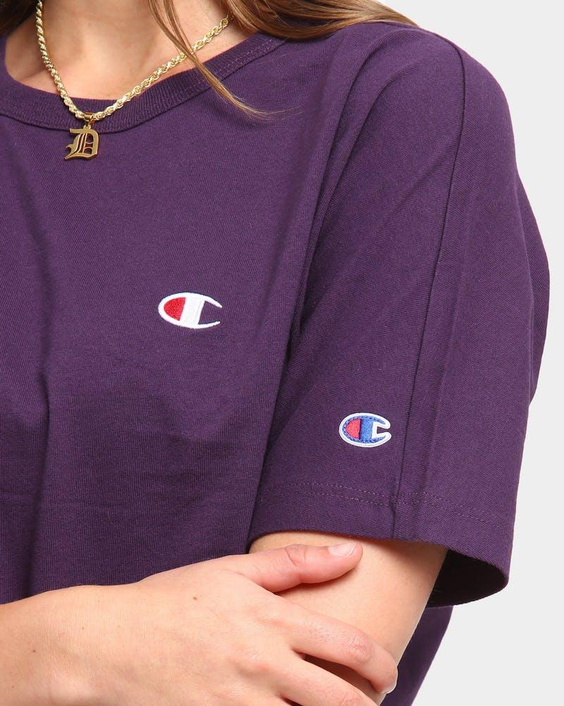 Champion Women S Heritage Crop C Logo Short Sleeve T Shirt Purple Peb Culture Kings