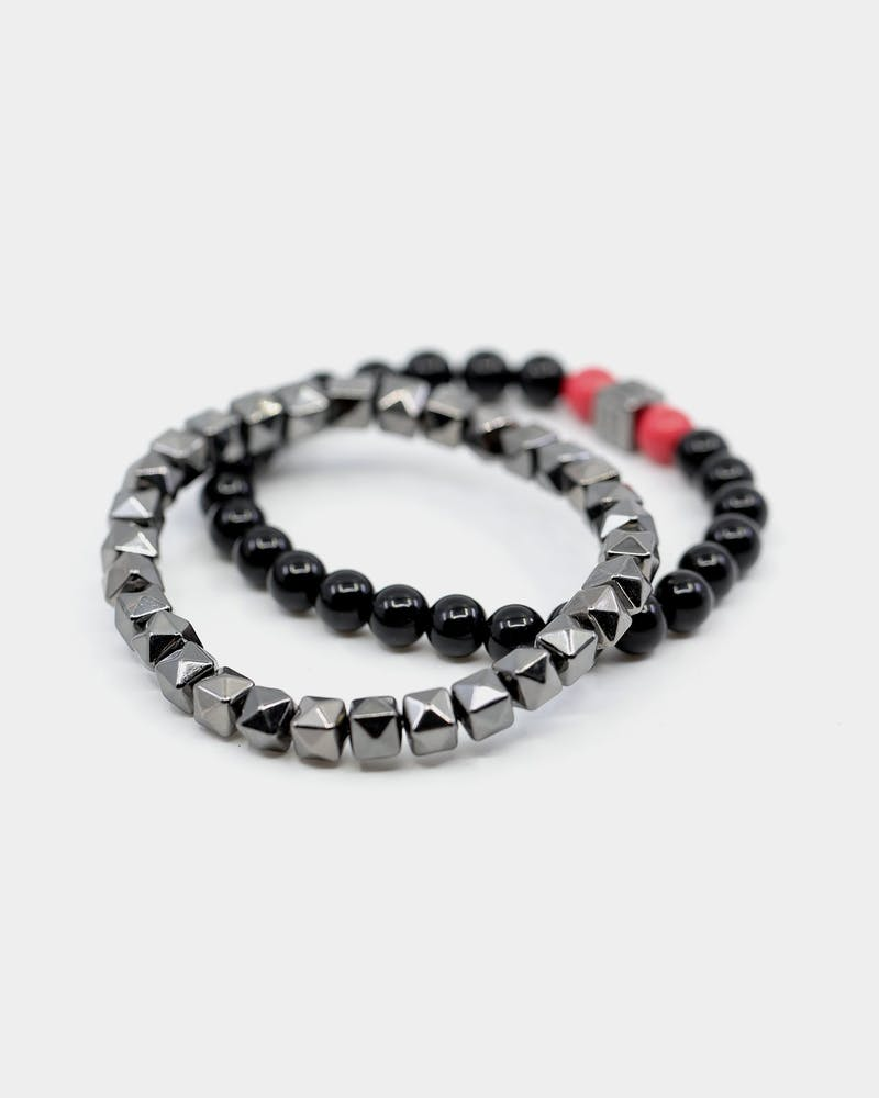 Wild For The Weekend Fantazia Beaded Bracelet Stack Gunmetal/Red